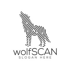 Wolf Scan Technology Logo vector Element. Animal Technology Logo Template