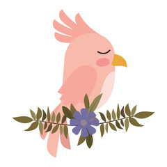 cute bird with leafs and flowers crown vector illustration design