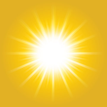 Shiny hot sun lights, summer concept yellow bright and vibrant color background.