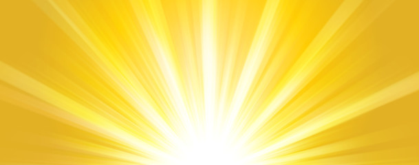Abstract  summer background. Shiny hot sun lights horizontal banner illustration with yellow and orange vibrant color tones.