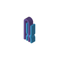 AX or XA isometric right top view 3D icon