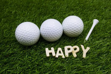 Happy golfing is on green grass