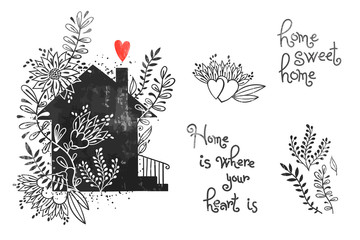 Hand drawn house with flowers and inscriptions. Home Sweet Home is where your heart is. Vector illustration in vintage style