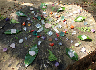 Mandala pattern, crystal stone and plant combination. In the environment of nature