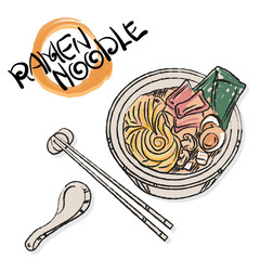 menu ramen noodle japanese food template design