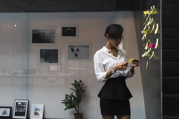 Businesswoman brainstorming