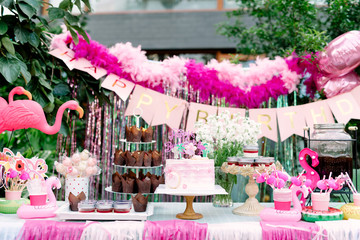 Dessert table on a birthday party