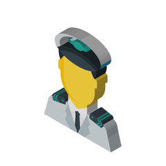 Pilot isometric right top view 3D icon