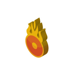 o fire isometric right top view 3D icon
