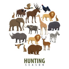 Vector hunting season poster of wild animals