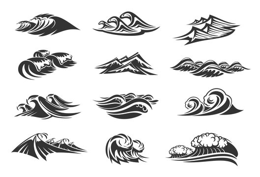 Vector line icons set of ocean waves