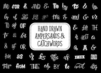 Vector ampersands and catchwords lettering