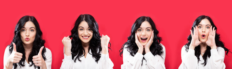 Woman making a variety of positive facial expressions