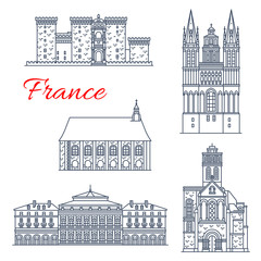 France architecture vector landmarks of Angers