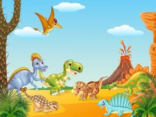 Cartoon happy dinosaurs with volcano