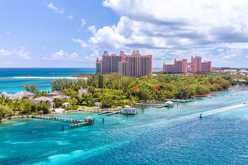 Scenic view of an idyllic beach at Nassau, Bahamas, on Paradise Island. Caribbean and tropical beach scene at Nassau with white sand coastline and deep blue sea, Bahamas.