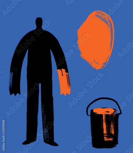 Man With Orange Paint Hand And Blob Artist Mark Making Finding Yourself Concept Individuality Idea Abstract Vector Ilration Self Expression