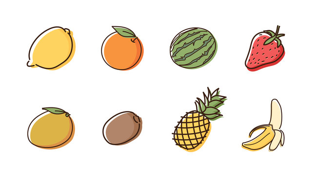 Set of 8 fruit doodles with watercolor style. Vector hand drawn icon illustrations