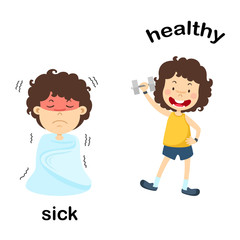 Opposite sick and healthy vector illustration