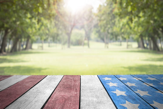 Independence day 4th july, Labor day, Veterans day, Presidents day, Patriot USA flag on table top in the park for background