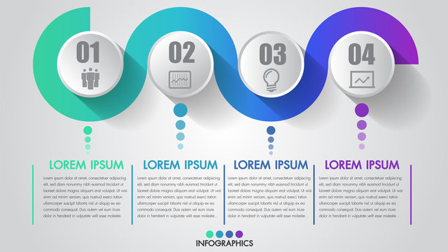 Four steps business infographics timeline modern creative with icon step by step can illustrate vector a strategy, workflow or team work.
