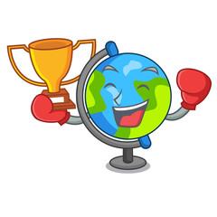 Boxing winner globe mascot cartoon style