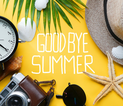 Goodbye Summer Text Flat Lay Traveling Holiday Vacation Yellow Background Blank Space In The Middle