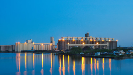 Duluth Minnesota shipping harbor with light reflections