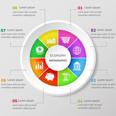 Infographic design template with economy icons