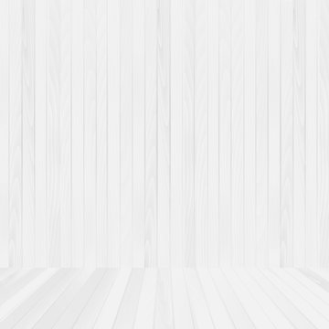 White wood floor and wall background for your design. Vector.