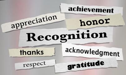 Recognition Achievement Appreciation Honor Headlines 3d Illustration
