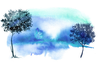 Blue, purple tree, bush,forest  watercolor. Ecological abstract art illustration. Watercolor splash of paint, beautiful illustration. Nature, tree, bush, silhouette of the forest.