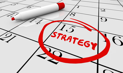 Strategy Planning Calendar Word Circled Marker 3d Animation