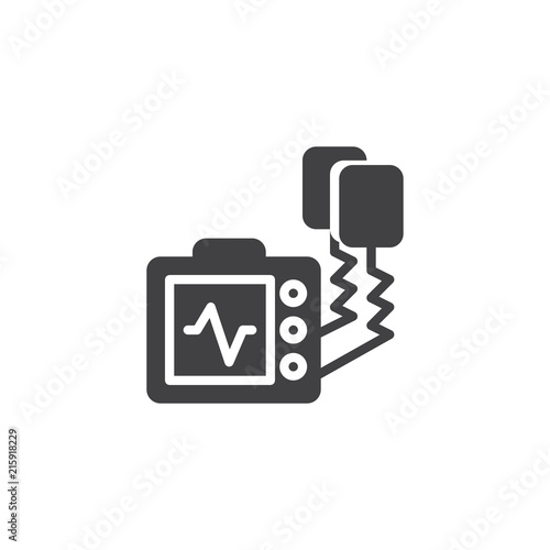 Defibrillator Machine Vector Icon Filled Flat Sign For Mobile