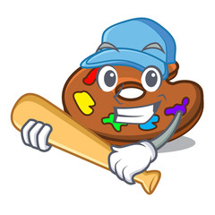 Playing baseball palette character cartoon style
