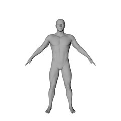 Standing man. Isolated on white background. 3D rendering illustration.