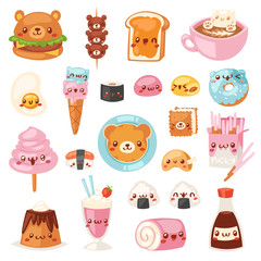 Food kawaii vector cartoon bear expression characters of fastfood hamburger with icecream or doughnut emoticon illustration set of burger emotion and coffee emoji isolated on white background
