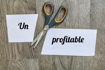 Unprofitable Word on Paper Cut  in two Pieces with Scissors