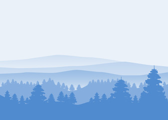 Forest, silhouettes, trees, pine, fir, nature, environment, horizon, panorama, vector, illustration, isolated