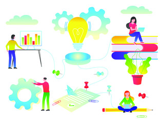 People work together for idea flat style vector illustration. Concept of idea growing, teamwork and business constraction and analitics. Education workplace things gradient isolated background version