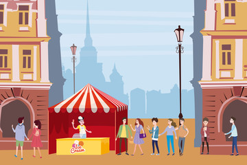Trade tent, ice cream counter, seller under a canopy, outdoor composition, city, selling ice cream, drinks, corn, fast food, sweets. People, sellers and buyers. Urban scene. Vector illustration in