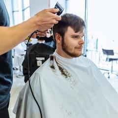 man at professional barbershop
