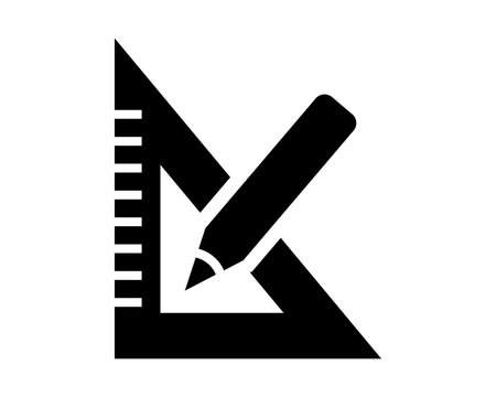 black silhouette triangle ruler stationery tool equipment image vector icon logo