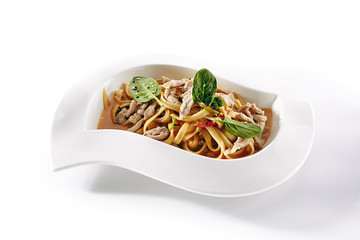 Noodles, Pasta or Yakisoba with Meat, Vegetables and Greens