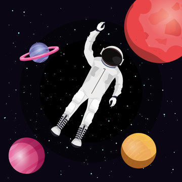 Astronaut floating in  space around the planets, colorful design. vector illustration