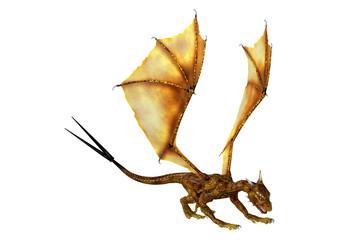 3D Rendering Fantasy Dragon Hatchling on White