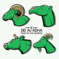 Eid al-Adha. Set of illustrations. Camel, cow, sheep and goat. Logo, icon, emblem, sticker, print.
