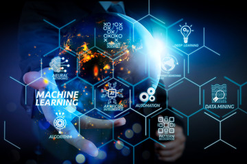 Machine learning technology diagram with artificial intelligence (AI),neural network,automation,data mining in VR screen.Business hand showing the earth.Elements of this image furnished by NASA