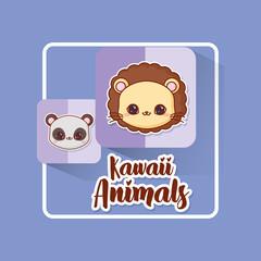 Kawaii animals over blue background, colorful design. vector illustration