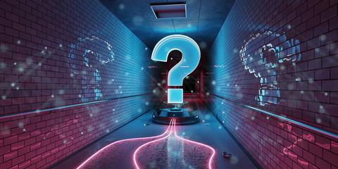 Question marks digital hologram in underground 3D rendering